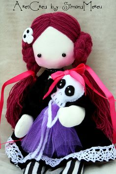 Agata Handmade #Gothic #Doll with her Ballerina #Skeleton by AresCrea, $55.00