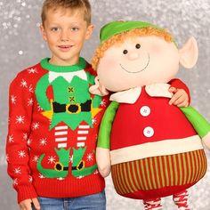 Kersttrui kerstelf voor kinderen. Gebreide trui met een afbeelding waarbij het net lijkt of je het hoofd bent van de kerstelf! De kersttrui is gemaakt van 100% acryl.