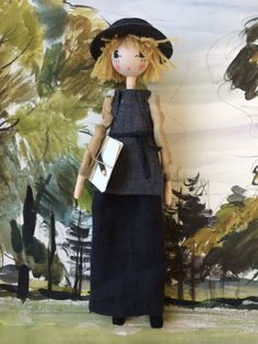 Dora Carrington, part of the Bloomsbury Set commissioned by Selvedge Magazine. Set against one of my great Grandpa's paintings. Dora Carrington, Bloomsbury, Uk Shop, Puppets, Disney Characters, Fictional Characters, Virginia Woolf, Dolls, Disney Princess