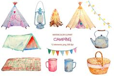 Hand painted watercolor camping clipart teepee tent camp fire instant download for greeting cards, diy wedding invitations