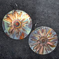 BIG round copper earrings blue oxidized copper jewelry by Dawily, $25.00 ----I love his work!!!