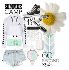 """""""summer camp look"""" by madilino ❤ liked on Polyvore featuring Whiteley, Topshop, ban.do, Converse, Bobbi Brown Cosmetics, Essie, summercamp and 60secondstyle"""