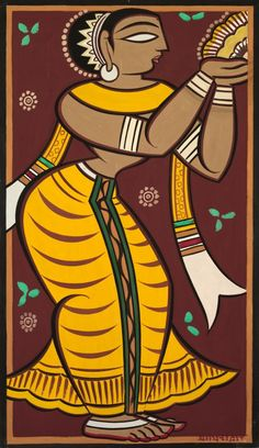 Jamini Roy (Indian, watercolor, Overall - cm inches). Gift of George P. India Painting, Durga Painting, Worli Painting, Umbrella Painting, Block Painting, Fabric Painting, Modern Indian Art, Indian Folk Art, Indian Artist