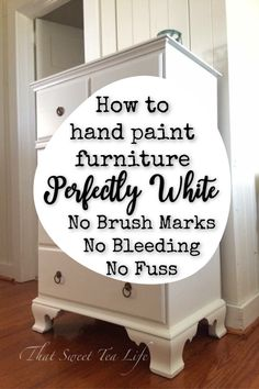 Hand Painting White Furniture: The BEST No Fail Method! Hand Painting White Furniture: The BEST No Fail Method!,White Painted Furniture Hand Painting White Furniture: The Best No Fail Method! Diy Furniture Renovation, Diy Furniture Easy, Diy Furniture Projects, Plywood Furniture, Repurposed Furniture, Furniture Making, Furniture Makeover, Furniture Decor, Barbie Furniture