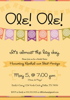 Fiesta Cinco de Mayo Invitations Personalized with option to print