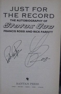 Francis Rossi and Rick Parfitt's Signatures (veteran rockers and members of Status Quo)