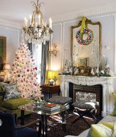 The classic living room in the Georgian revival style home of Claudia Harris in New Canaan CT, is livened up with some kitschy Christmas fun in the form of that white tree covered in bright ornaments,. Merry Christmas, White Christmas, Vintage Christmas, Christmas Holidays, Christmas Decorations, Christmas Ideas, Christmas Palette, Christmas Things, Country Christmas