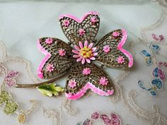 Art Signed Hot Pink Flower  Brooch by LucyLucyLemon on Etsy