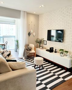 Popular applied living room decor {Share with Your Friends Living Room Tv, Small Living Rooms, Home And Living, Living Room Designs, Apartment Interior, Kitchen Interior, Bedroom Decor, Decoration, Home Decor