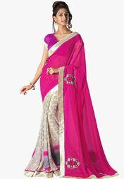 Admyrin Magenta Embellished Saree Online Shopping Store