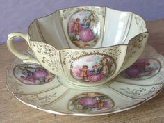 Antique Lefton china tea cup and saucer French by ShoponSherman,