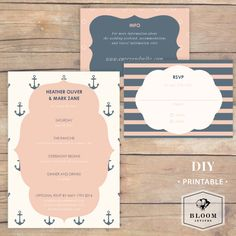 Nautical Wedding invitation set downloadable DIY by BloomInvites