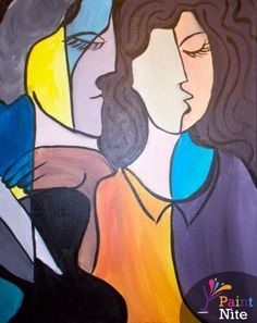 Painting: Abstract Lovers - www.paintnite.com - #paintnite #art #create