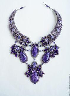 Купить Загадка Сирени - тёмно-фиолетовый, сирень, чароит, колье с чароитом, сиреневый, чароит