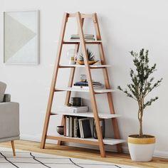 Nathan James 62201 Carlie Ladder Bookcase, Display or Decorative Storage Rack with Rove Wooden Ladder Shelves. Wooden Ladder Shelf, Ladder Bookshelf, Cool Bookshelves, Diy Ladder, Triangle Bookshelf, Ladder Shelf Decor, A Shelf, Leaning Ladder Shelf, Triangle Shelf
