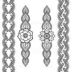 Set of seamless borders for design and application of henna. Bracelet for tattoo or henna pattern. Set of seamless borders for design and application of henna. Bracelet for tattoo or henna pattern. Henna Hand Designs, Henna Tattoo Designs, Henna Patterns Hand, Simple Henna Patterns, Arabic Henna Designs, Simple Mehndi Designs, Mehndi Designs For Hands, Tribal Patterns, Simple Pattern