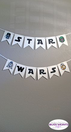Download this Star Wars banner with alphabet letters and character icons. Perfect for Star Wars Day, birthday parties, or a photo booth backdrop.