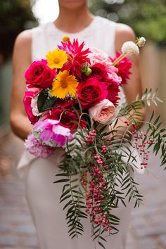 Bright pink bridal bouquet | Photo by Jerome Cole photography | Florist Prunella | Read more - http://www.100layercake.com/blog/?p=75347