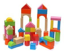 Bright-colored building gift children educational toy wooden blocks 60pcs/set
