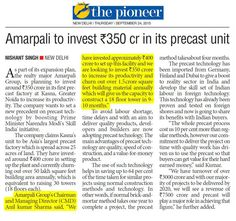 As a part of Amrapali Group expansion plan,we are planning to invest around Rs. 350 crore in our ‪#‎precastplant‬ at ‪#‎Kasna‬, ‪#‎GreaterNoida‬ to increase its productivity and churn out over 1.5 crore square feet building material annually -says #AnilSharma CMD #AmrapaliGroup #AnilSharmaCMDAmrapali