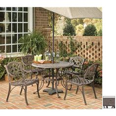 Home Styles 5-Piece Biscayne Mesh-Seat Aluminum Patio Dining Set - Lowes
