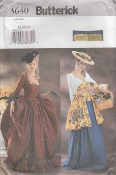 Butterick 3640 Colonial Revolutionary War Dress, Petticoat, Scarf, Williamsburg, Early American, Size 18, 20, 22 Uncut