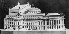 "Louis Villeminot's plaster model of the Palais Garnier (after designs of the architect Charles Garnier) as photographed by J. B. Donas in May 1863. The model was lost sometime after 1925. Its last known location was the ""Ecole régionale d'architecture de Strasbourg""."