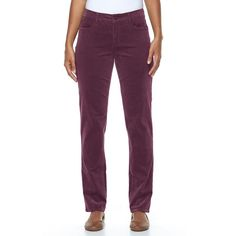 Women's Croft & Barrow® Classic Fit Straight-Leg Corduroy Pants, Size: 18, Drk Purple
