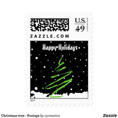 Christmas tree - Happy Holidays - Postage Stamps