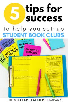 Are you thinking of setting up a book club in your classroom? Do you keep pushing back the date of starting because you just aren't sure how to implement it? This post has some great ideas on how to get started with book clubs in the upper elementary classroom! 5 awesome tips on how to get organized & make the most out of book clubs! First Year Teaching, Teaching 5th Grade, 5th Grade Reading, Help Teaching, Teaching Reading, Guided Reading, Reading Resources, Reading Strategies, Reading Comprehension