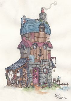 The Boat House, Watercolour & fineliners, by Fergal O' Connor. Boat Drawing, House Drawing, House Illustration, Illustrations, House Sketch, Tim Beta, Village Houses, Fantasy Landscape, Boat House