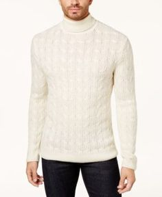 Tasso Elba Men's Turtleneck Cable Sweater, Created for Macy's - Tan/Beige XL Cable Sweater, Pullover Sweaters, Men Sweater, Cable Knit, Warm Clothes For Men, Mens Turtleneck, Men Looks, Elba, Turtle Neck