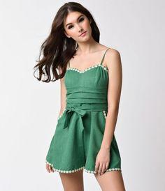 Voodoo Vixen Vintage Style Green & Daisy Trimmed Jayne Romper