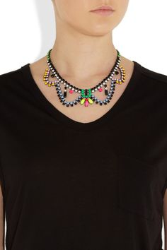 Tom Binns | Electro Clash Nova painted Swarovski crystal necklace |
