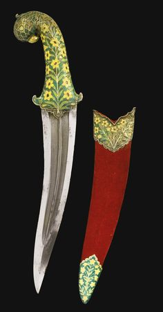 A RARE MUGHAL ENAMELLED DAGGER AND SCABBARD, INDIA, 17TH CENTURY the recurved double-edged watered-steel blade with central ridges, the hilt with emerald-green, light green and yellow enamelling within silver outlines designed as floral stems, the pommel in the form of a parrot's head, the wooden scabbard with red velvet cover and silver mounts enamelled with same floral design, the chape a later replacement