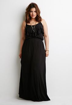 Forever 21+ - Femme with a touch of flirty, this maxi dress will open up a world of outfit possibilities. It features adjustable cami straps, a flounced top, and a V-neckline. Wear it with a wide brim hat and sunnies to go incognito for the day.