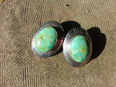 Turquoise Sterling Silver Earrings Vintage by TrombinoShoreArt, $28.00