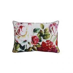 Mabry Red and Green Floral Cushion