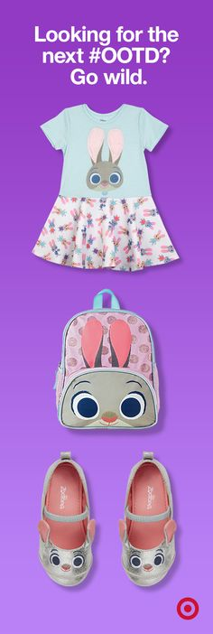"Hop ïtil you drop with these Disney's Zootopia style must-haves""an adorable Judy Hopps dress, backpack and ballet flats. Get them before some-bunny else does. Now at Target."