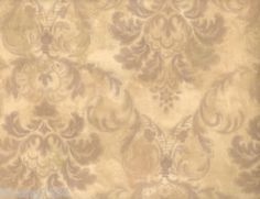 French-Damask-Leaf-Floral-Tan-Lilac-Beige-Wallpaper