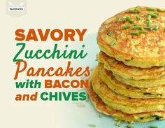 Jumpstart your morning with savory zucchini pancakes filled with bites of crunchy bacon and fresh chives!