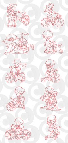 sunbonnets on Bicycles