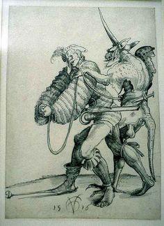 Urs Graf The Elder Baphomet, Medieval Art, Renaissance Art, Satanic Art, Landsknecht, Hieronymus Bosch, Arte Horror, Fantasy Creatures, 16th Century