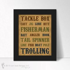 Fishing theme Boys Bedroom or man cave home decor digital art wall hanging. This design has various fishing related words, tackle box, cast, jig,
