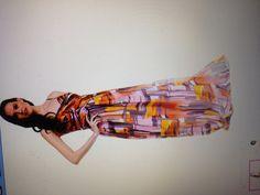 Decode 1.8 Orange Graphic Print Silk Maxi Dress- rue la la