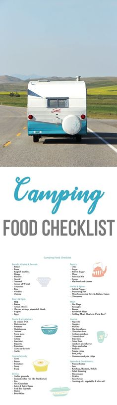 Camping Food Checklist  //  Take the stress out of what food to pack on your next camping trip, with this Camping Food Checklist!  And while you're here grab some camping recipe ideas too!