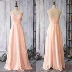 2017 Peach Chiffon Bridesmaid dress, Chiffon Wedding dress, Spaghetti Strap Party dress, Long Formal dress floor length (F089)-Renzrags