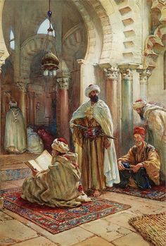 Prayer at the Mosque. Mid Apparently North Africa but caption doesn't say which country. Artist: Giuseppe Carosi, watercolor on paper. Very nice piece of art. Art Arabe, Arabian Art, Islamic Paintings, Art Antique, Old Egypt, European Paintings, Egyptian Art, North Africa, Ancient Art