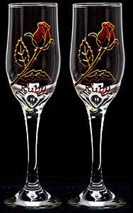 Celtic Glass Designs Set of 2 Hand Painted Champagne Flutes in a Ruby Rose Design. Cheap Champagne, Crystal Champagne, Champagne Flutes, Plastic Champagne Glasses, Ruby Rose, Rose Design, Glass Design, Hand Painted, Celtic