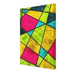 Color glass abstract geometric neon stretched canvas print